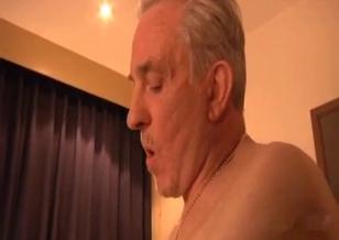 Granddad licks his granddaughter's shaved cunt