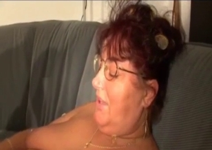 Fat son cums on the big boobs of his mom