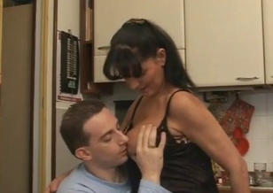 Big-boobed seduced her horny son