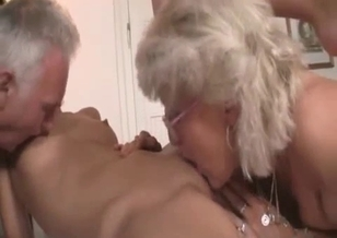 Grandma and grandpa licks young babe's pussy