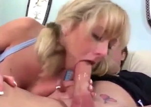 Sister with pigtails sucks my loaded prick