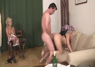 Blonde daughter gives her daddy a nice blowjob