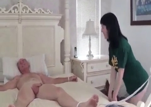 Brunette daughter gives her grandpa a blowjob