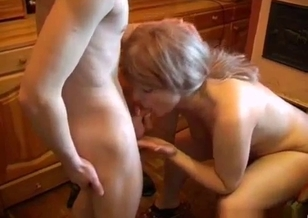 Lucky young man with hard shaft enjoys oral incest